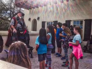 Captain Mayhem with Students